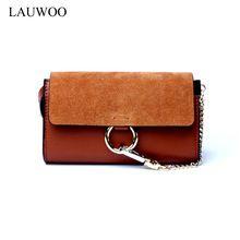 LAUWOO fashion brand women real cowskin Mini Crossbody bags Small Women Genuine Leather Organ Bag girls vogue cloe Bag Bolsas(China)