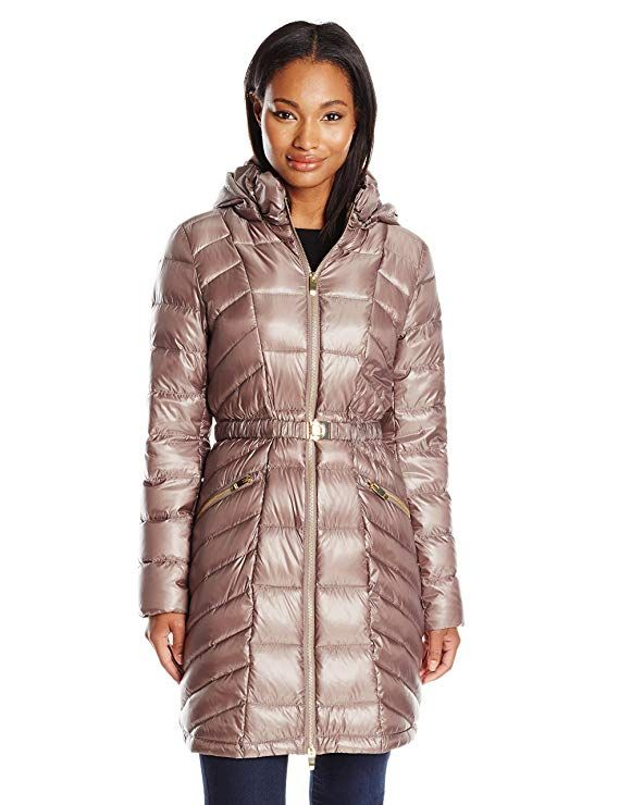 19aa9aff4 Via Spiga Women's Metallic Packable Down Coat with Belt at Amazon ...