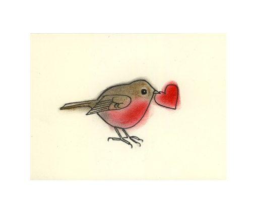 Valentine Love Bird Art print cœur de Little par matouenpeluche