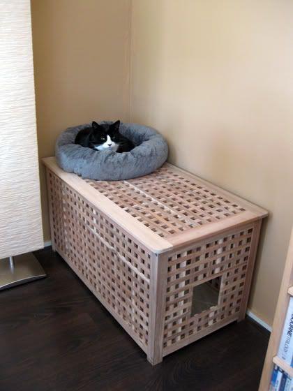 Ikea Hol as cat litter tray storage
