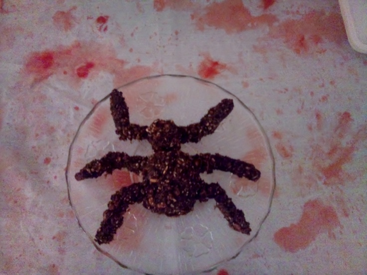Spider cake   placed on a blood stained table cloth (for a spooky themed party)