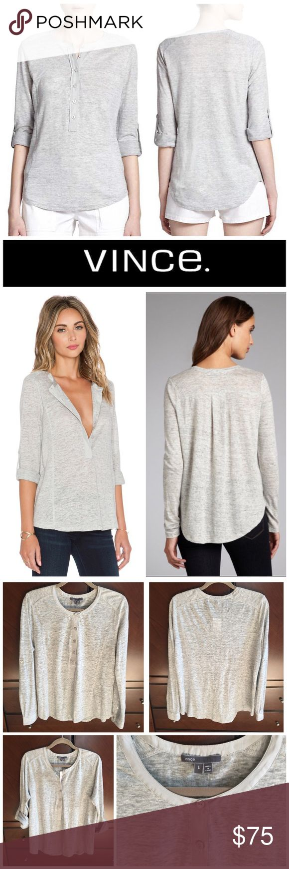 Linen Henley Top with Silk Trim NWT, 100% linen heather grey henley top from Vince.  Trimmed with 100% silk.  Casual chic top that you can wear year round. Vince Tops Blouses
