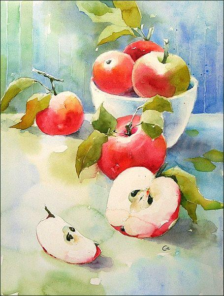 Apple Season - Original Watercolor Painting 12x9 inches