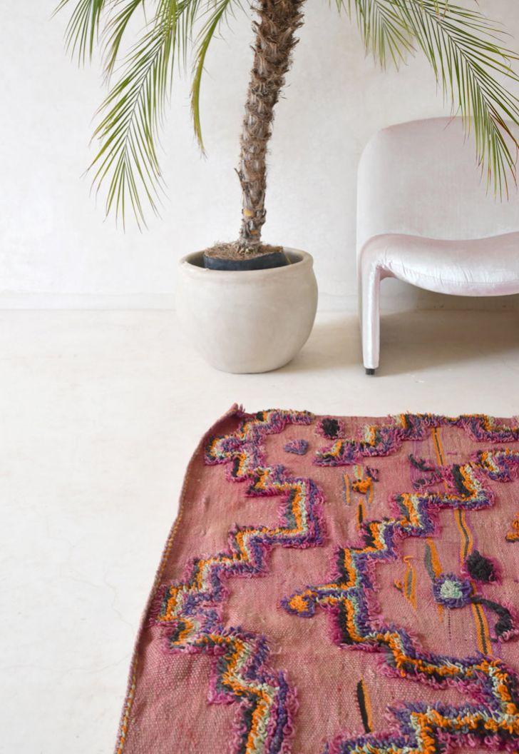 Vintage Moroccan Boucherouite Rug   Pink Rug Co. on Etsy