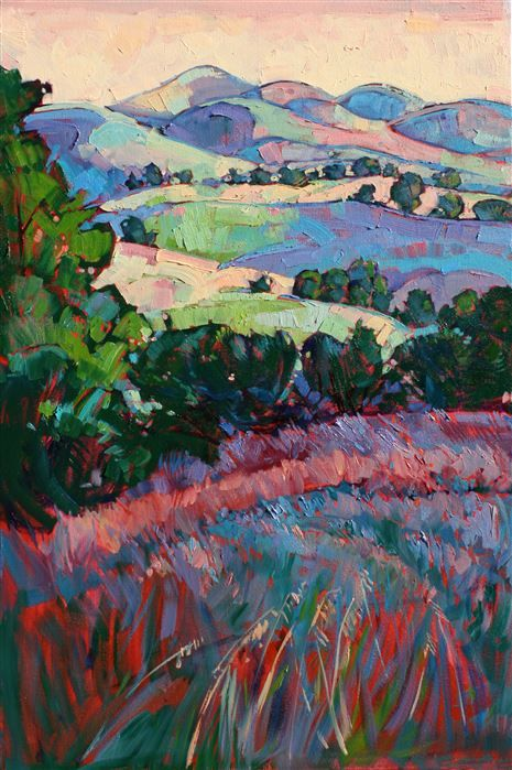 Paso Robles oak trees, original oil painting by Erin Hanson