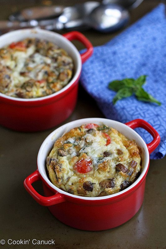 Make-Ahead Baked Egg Recipe with Turkey Sausage, Mushrooms & Tomatoes | cookincanuck.com #recipe #breakfast #eggrecipe