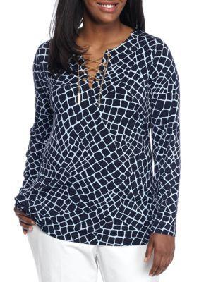 MICHAEL Michael Kors True Navy Plus Size Metal Chain Lace Up Tunic