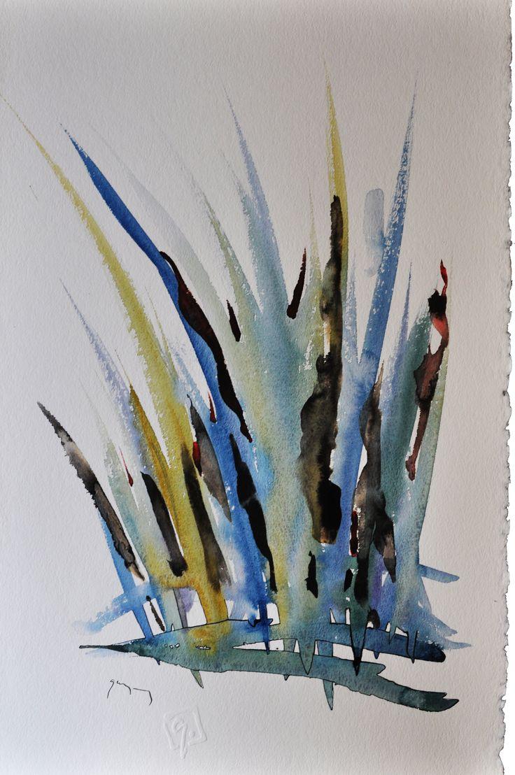 Fű No 01 (akvarell, tus, karton, 32x21)