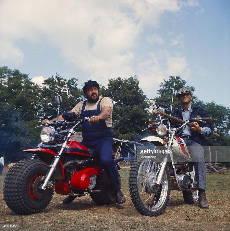 Italian actor and scenarist Bud Spencer (Carlo Pedersoli) and Italian actor, director and scenarist Terence Hill (Mario Girotti) riding two motocross in the film ...altrimenti ci arrabbiamo!. 1974