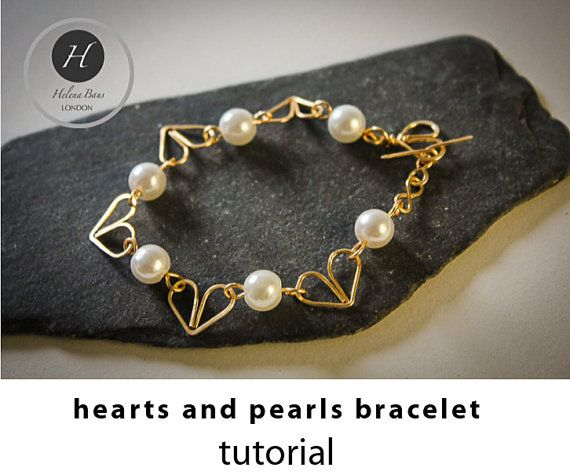 Hearts and pearls bracelet tutorial bridal by HelenaBausJewellery
