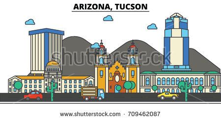 Arizona, Tucson.City skyline: architecture, buildings, streets, silhouette, landscape, panorama, landmarks, icons. Editable strokes. Flat design line vector illustration concept.
