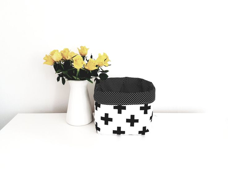 Fabric storage basket, monochrome cross, black and white. Swiss cross. Nappy basket, toy storage, nursery decor, kids room.FREE UK DELIVERY by MeaBeeDesign on Etsy