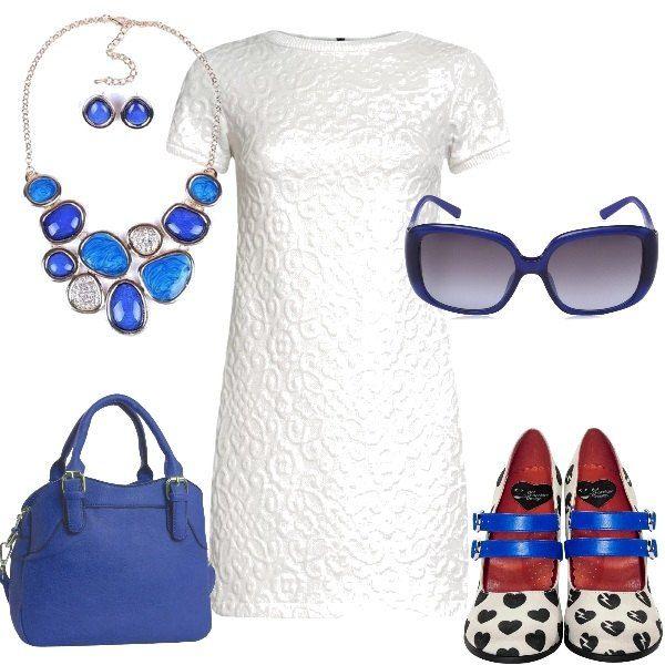 Decisamente originali le scarpe modello Mary Jane con cuoricini e cinturini in contrasto di colore, che vengono indossate con un vestito bianco, in tessuto strutturato a mezza manica, la borsa è di un vivace blu elettrico e blu è anche la parure composta da una collana con gocce di cristalli e dagli orecchini. Completano la proposta un aio di occhiali da sole oversize con la montatura e le lenti blu.