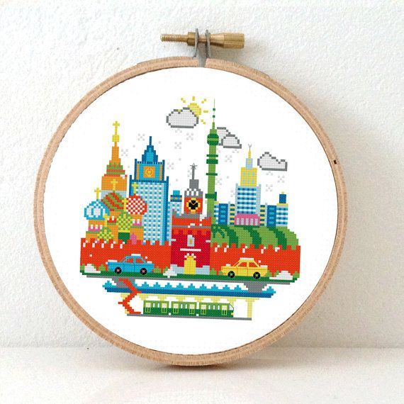 Sunny Modern Moscow Modern Cross Stitch Pattern. Moscow Cityscape. Colorful cross stitch pattern that will make a great nursery decor. Design by Studio Koekoek.