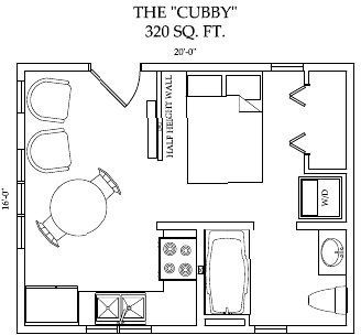 Cubby. Only 320 sq ft, but pretty well packed with everything needed including a closet in the bed room and a closet space at the end of the hall for a washer dryer.  I might take the table out and put one that is fold down on the wall under the windows.  And personally I would rather have a love seat or even a comfy chair and a half than two club chairs.