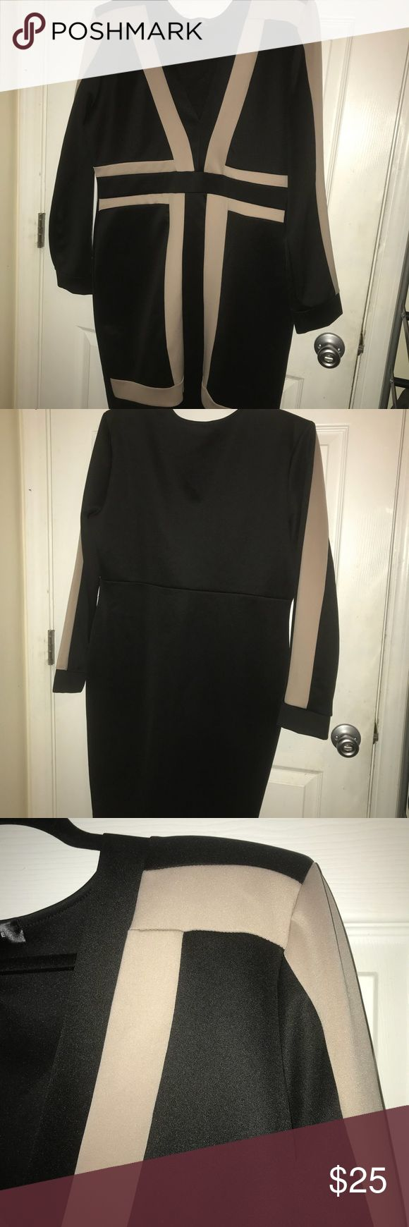 Sexy body con dress Black and Beige body con dress, form fitting in great for a night out. Runs a little small (fits like 1x in my opinion) great stretch. Worn once. gslovesme Dresses Long Sleeve