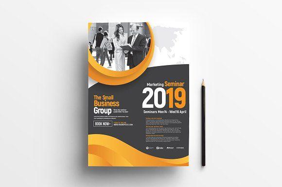 A4 Marketing Seminar Poster Template Business Card Design Simple