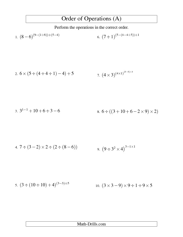 Order of Operations Worksheet Integers Order of Operations – Math Operations Worksheet