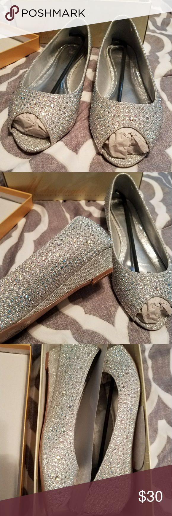 David's Bridal Rhinestone Peep toe Wedge Beautiful peep toe wedges covered in rhinestones, size 10 fit a little wide barely worn David's Bridal Shoes Wedges