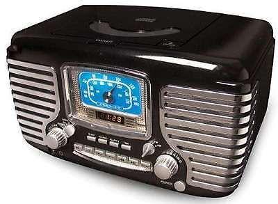 Vintage Radios: Retro Crosley Corsair Am Fm Cd Player Dual Alarm Clock Radio + Led Display Black BUY IT NOW ONLY: $88.95