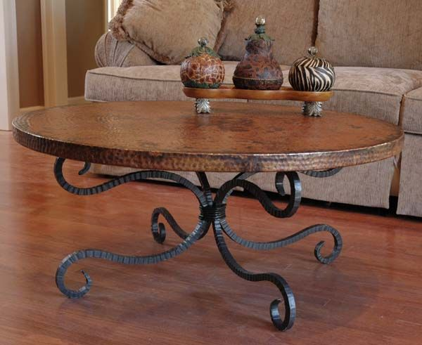 Copper And Iron Tail Table 512 Western End Tables Hand Forged