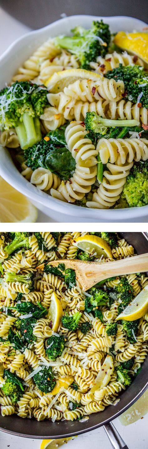 This super easy vegetarian pasta is a quick meal for a busy night! The broccoli and spinach keep it healthy and the garlic and lemon make it extra tasty. From The Food Charlatan.