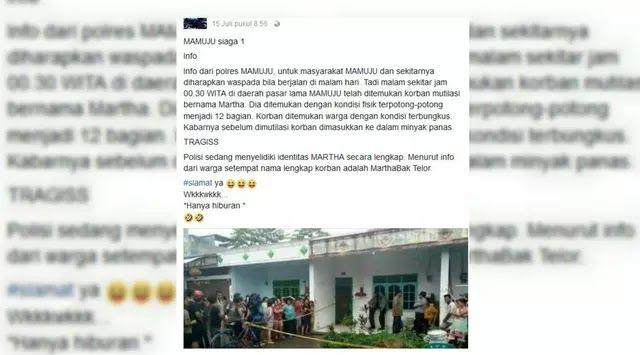 "Jakarta - Seorang pria berinisial H (32) terpaksa harus berurusan dengan Polres Mamuju. Pangkal masalahnya adalah dia membuat resah masyarakat setempak karena tulisan status di Facebook yang berjudul 'Marthabak Telor'Kapolres Mamuju AKBP Muhammad Rifai membenarkan pihaknya memeriksa H. ""Dia membuat resah masyarakat karena tulisannya di media sosial"" kata Rifai saat dihubungi Liputan6.com Selasa (18/7/2018). Status tersebut diunggah H pada Sabtu 15 Juli 2017. H menuliskan informasi dengan…"