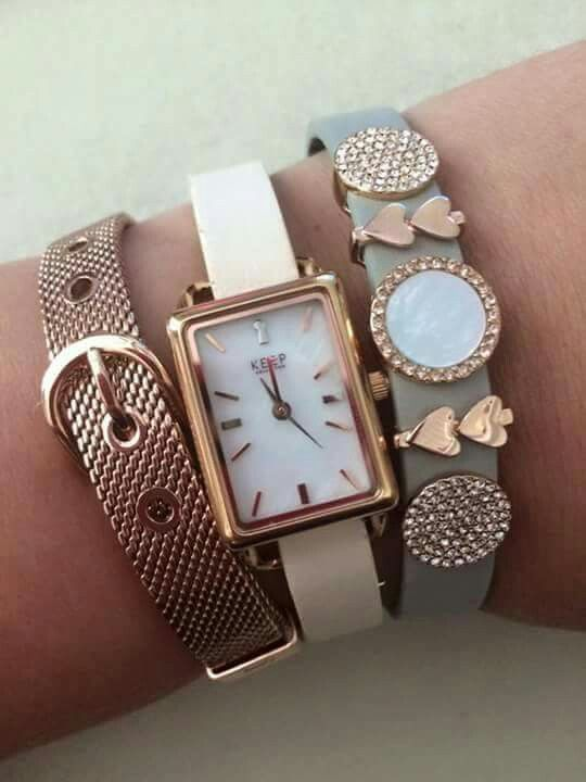 Rose gold mesh keeper, Tank timekey, mother of pearl disc....this completes an amazing look!