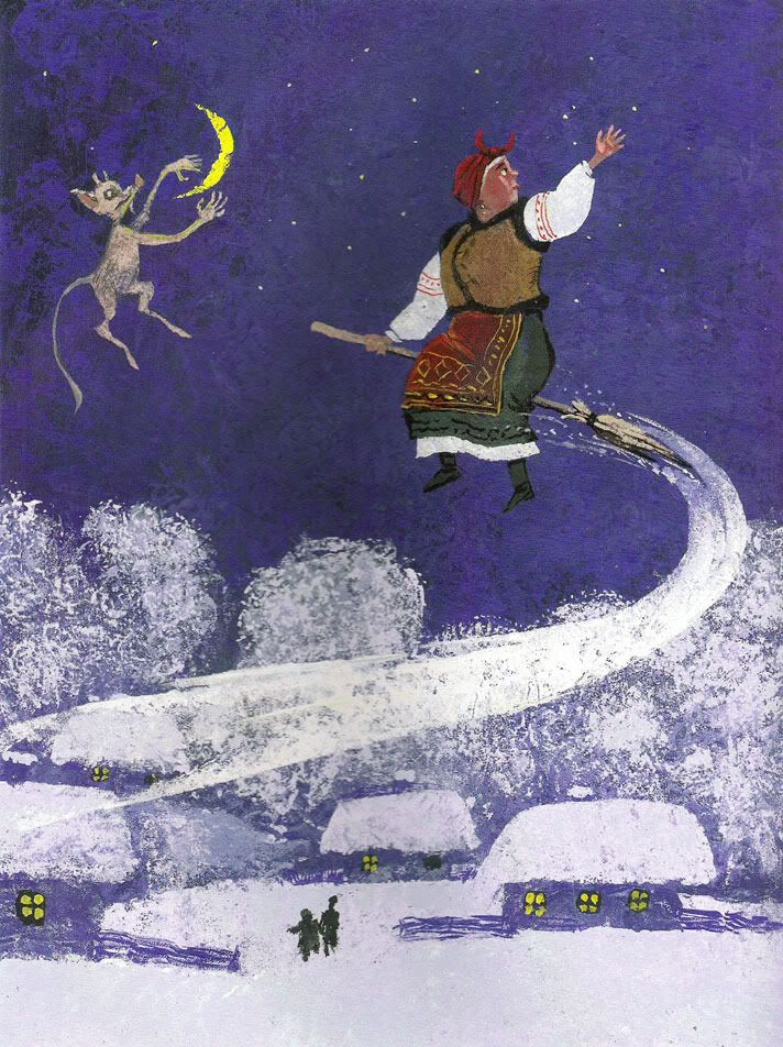 "Victor Chuguevsky illustration for Gogol's ""The Night Before Christmas""."