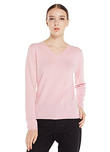 Women's Slim V-neck Long Sleeve 100% Cashmere Pullover Sweater