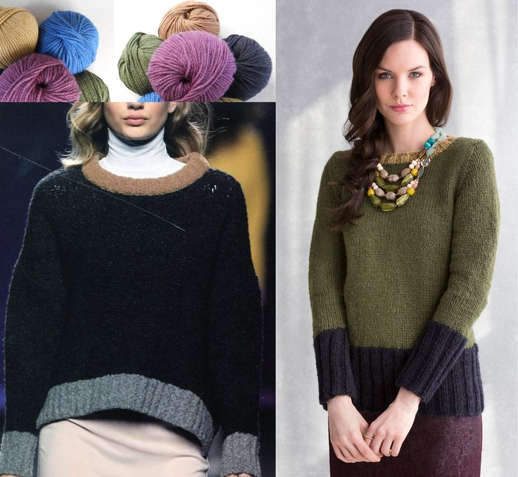 The Kay Pullover (right) in NATALIA (top left) was directly inspired by a sweater from fashion house TCN. The wide rib bottom band and tapered cuffs elongate the silhouette, while the hot color blocking trend continues in a more subdued, wearable Fall color scheme. http://www.tcn.es/