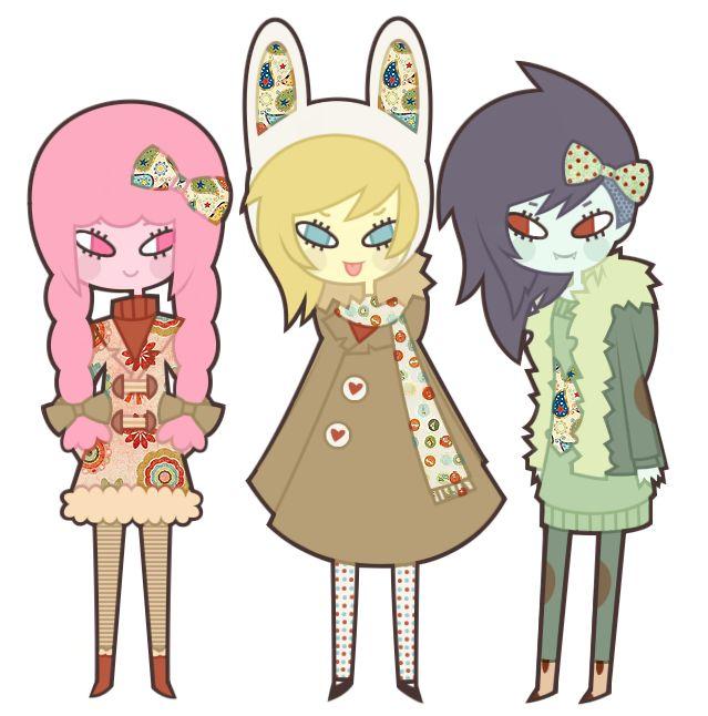Princess Bubblegum, Fionna and Marceline by *nekozneko on deviantART