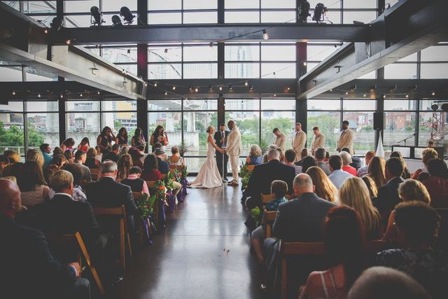 Wedding Ceremony at The Bridge Building in Nashville, Tennessee | Southern Wedding | Tropical Wedding Theme | Exotic Florals | Bride | Groom | Event Planning Business | Event Planner