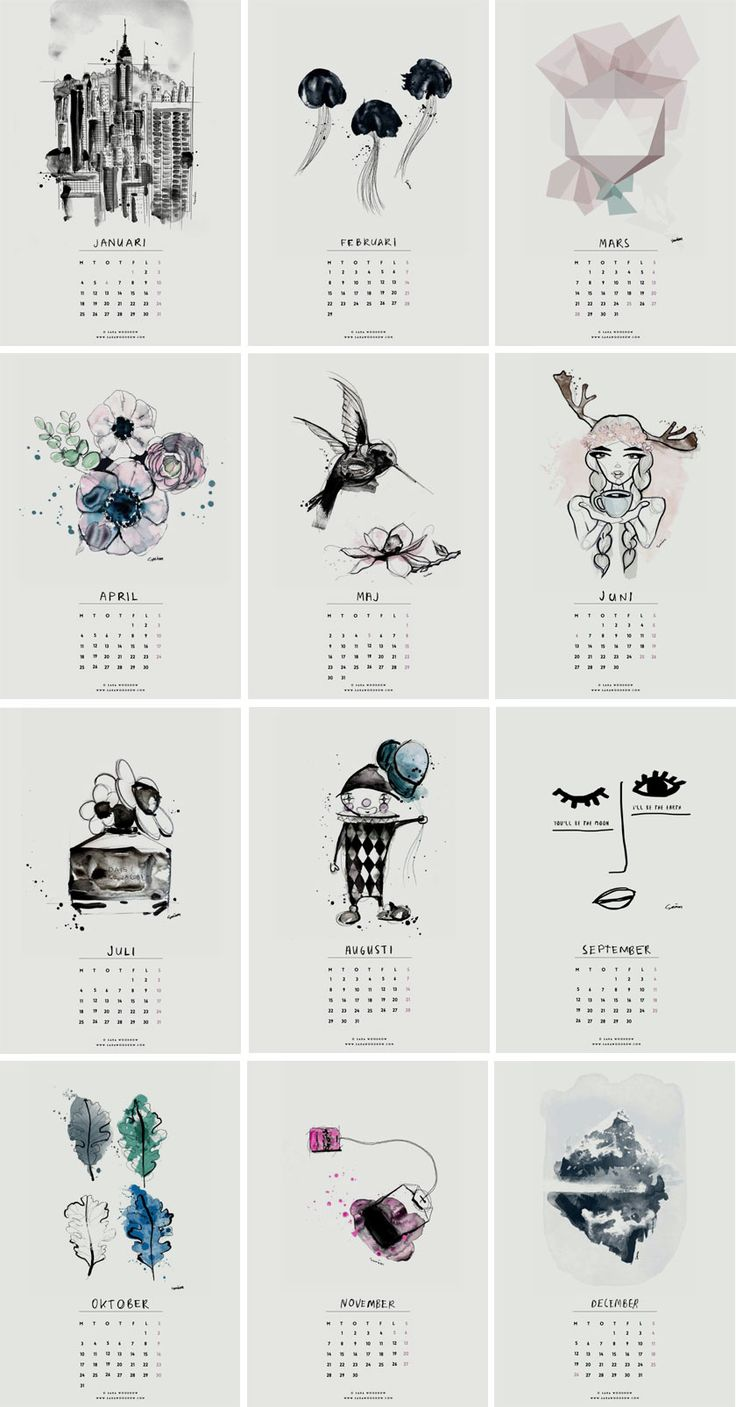 Free Illustrated 2016 Calendar