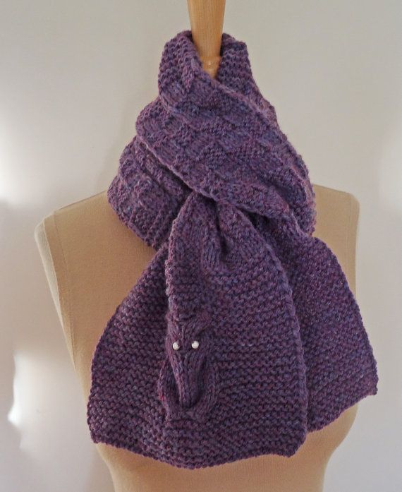 Knitted Scarf Owl Knitted Scarf Owl Scarf in Purple by evefashion, £25.00