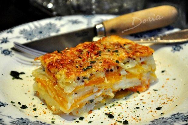 Gratin de légumes (panais,butternut,pommes de terre,carottes) au fromage de brebis