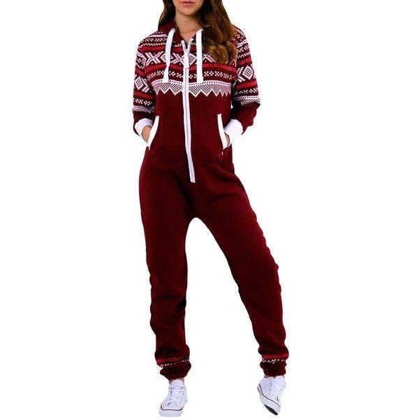 SkylineWears Women's Onesie Fashion Printed Playsuit Ladies Jumpsuit ($30) ❤ liked on Polyvore featuring jumpsuits, playsuit romper, red romper jumpsuit, jumpsuits & rompers, red jumpsuit and jump suit