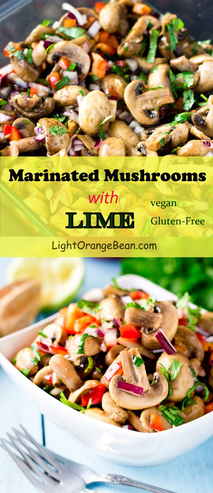 With just a few minutes of simple preparation, you can easily serve these colorful, appealing, and lemony marinated mushrooms that will impress everybody at the table, even those who are not big mushroom fans.