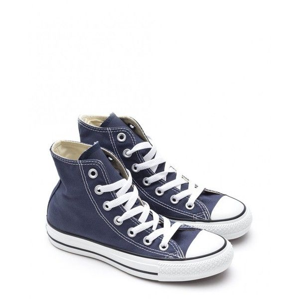 Converse Chuck Taylor All Star Hi Top Sneakers ($77) ❤ liked on Polyvore featuring shoes, sneakers, navy, hi tops, navy blue sneakers, high top shoes, navy blue shoes and navy sneakers