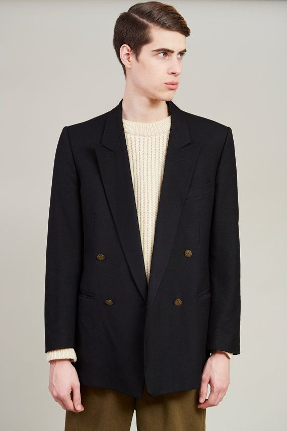1980s Givenchy Monsieur Black Wool Double Breasted Blazer 45