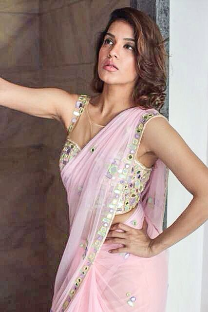 Arpita Mehta Power Pink #Saree With Multi-Coloured Pastel Mirror Work #Blouse.