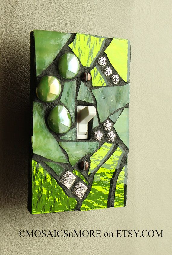 Citrus Green - Single Mosaic Light Switch Cover Wall Plate - Handmade in the USA