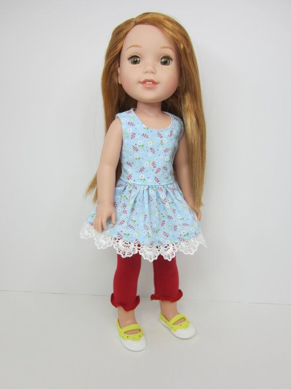 14.5 inch doll clothes -Light blue dainty flower print top with white lace and red leggings by JazzyDollDuds on Etsy.