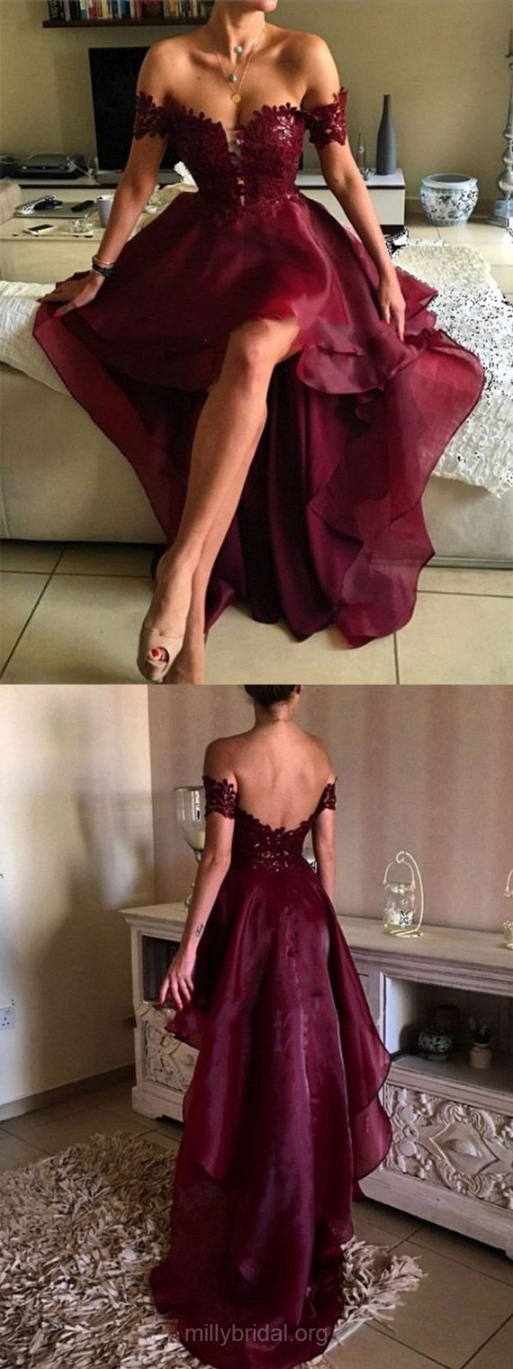 High Low Prom Dresses 2018 Sexy, A-line Party Dresses Off-the-shoulder, Organza Asymmetrical Appliques Lace Formal Evening Dresses Backless
