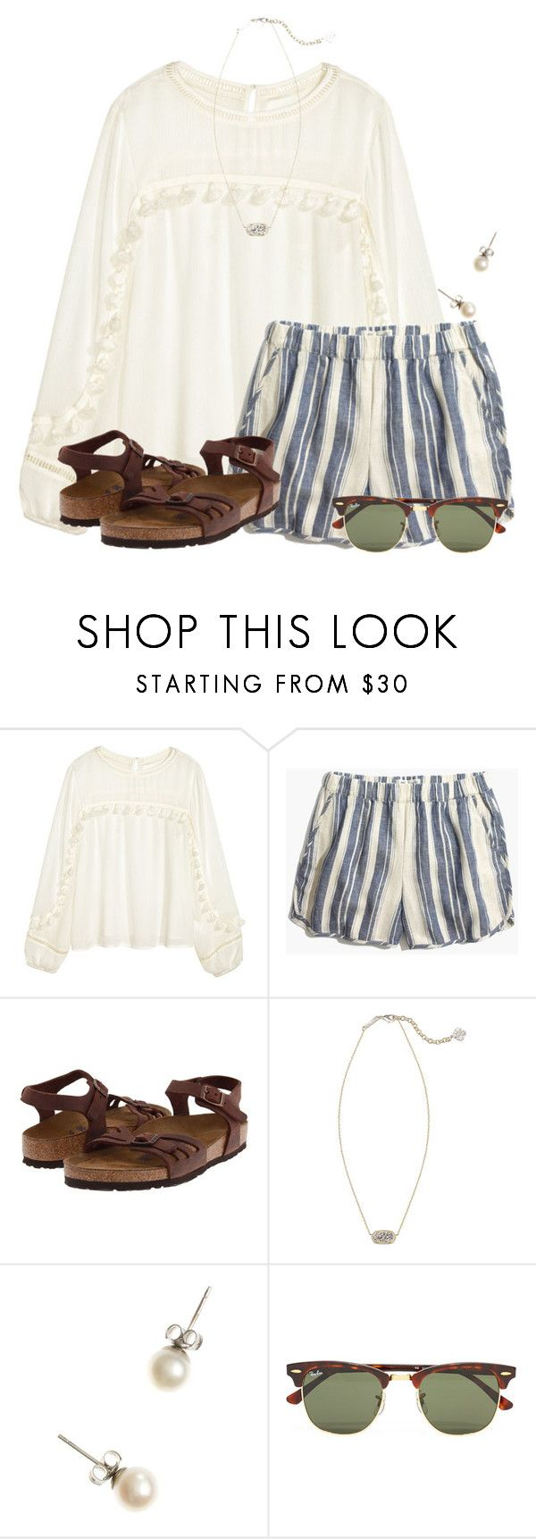 """""""~I really really want this outfit to wear at the beach~"""" by flroasburn on Polyvore featuring H&M, Madewell, Birkenstock, Kendra Scott, J.Crew and Ray-Ban"""