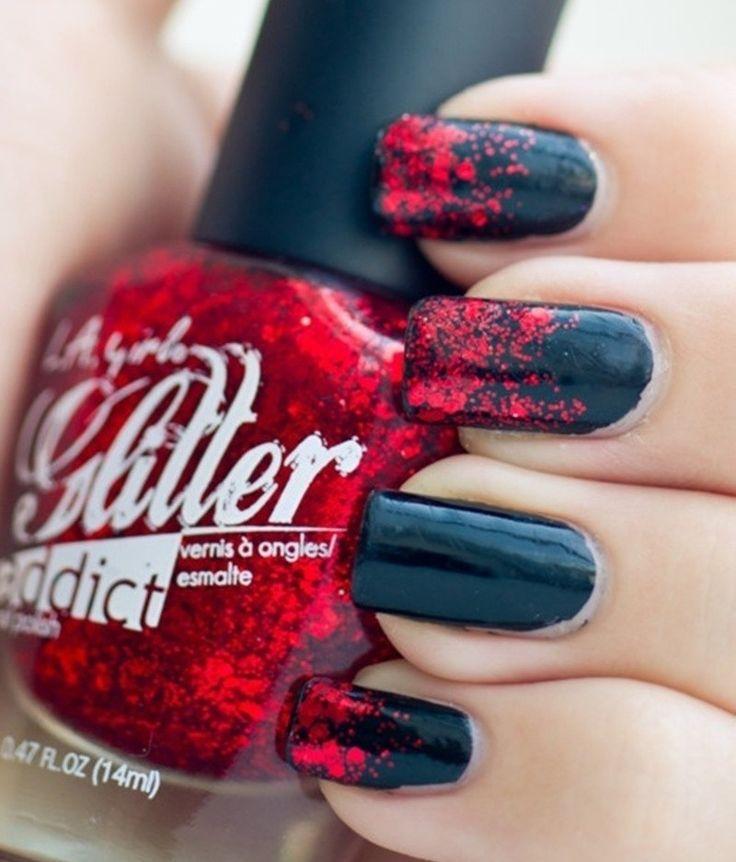 Nageldesign Schwarz rot Glitzer Elemente Ideen Nagellack auftragen – Nägel