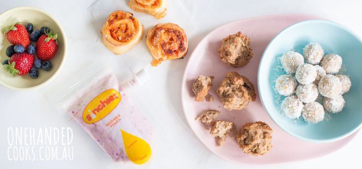You can make 4 freezer friendly school lunchbox snacks in 1 hour. Find the recipes here. @Sinchies reusable pouches #sinchies #onehandedcooks #lunchbox