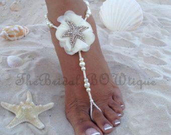 NUEVO - estrellas Marfil novia sandalias pies descalzos, sandalias Descalzas estrellas de mar, estrellas de mar boda descalzo sandalia, joyería nupcial, sandalia sin pies