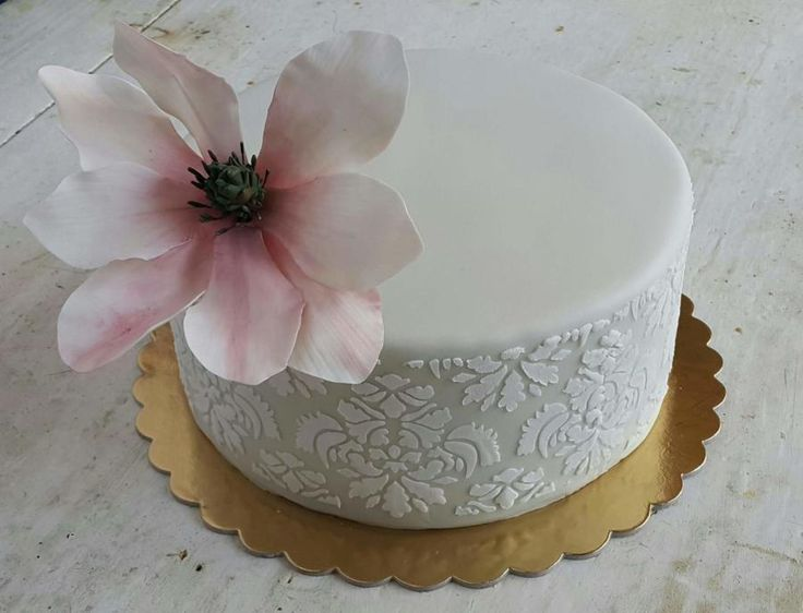 Cake With Magnolia Flower