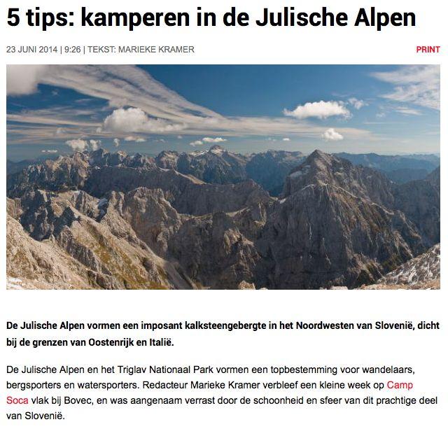 ASCI geeft vijf tips voor kamperen in de Julische Alpen. #ZijnTip